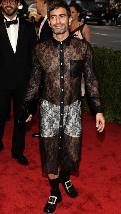 Men in Skirts, Men's Fashion, Marc Jacobs in a dress, Kanye West In a skirt, Men in skirts, Male Fashion Blogger, Men Fashion Trends, lace sheer dress, met institute gala