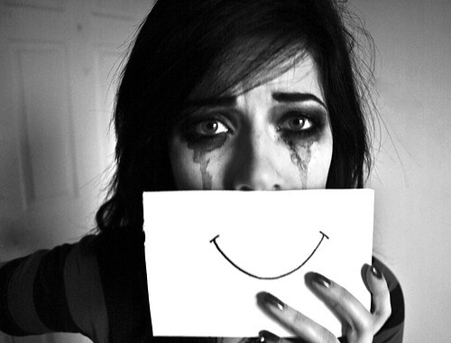 Black and white, Depression, Crying, smiling, masks, sad, girl, big eyes