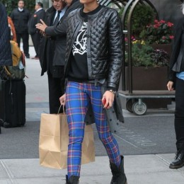 Helen Lasichanh wearing a lovely quilted jacket and a pair of blue plaid leggings