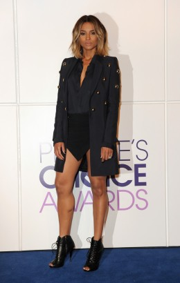 Ciara looks stunning at the People's Choice Awards 2014 Nominations Press Conference wearing an embellished jacket from Anthony Vaccarello Spring Collection & Angular Skirt.