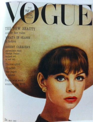 vogue-cover-1960s-model-with-big-brim-hat-may-1963